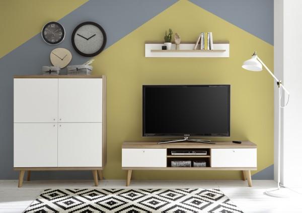 """Wohnwand """"Scandic VI"""", Eiche Riviera NB/weiß matt, 3er-Set, 277 (267) x 160 x 19 - 40 cm, Wohnzimmer"""