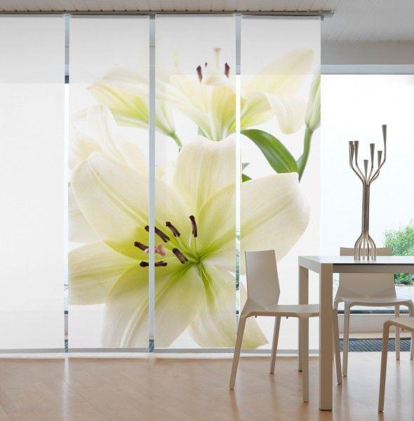 Designer Flächenvorhang Lilie weiss