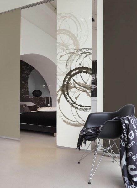 1-teiliger Flächen-Schiebevorhang Emotion Textiles Aquarell Kreise sepia 60 x 260 cm