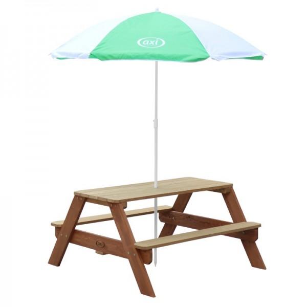 """Kinder Picknick Set """"Jorden"""" Hemlock Holz in braun 95x98x49cm Picknicktisch mit Sonnenschirm"""