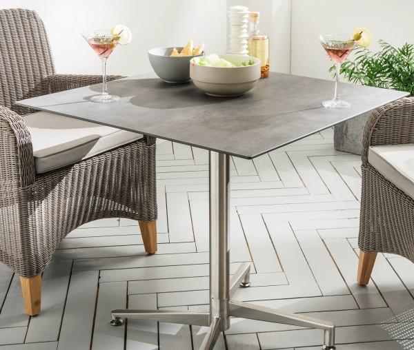 """Tisch """"Marbella"""", Edelstahl/Betongrau, 68 x 68 x 75 cm, Gartentisch, Balkontisch, Garten"""