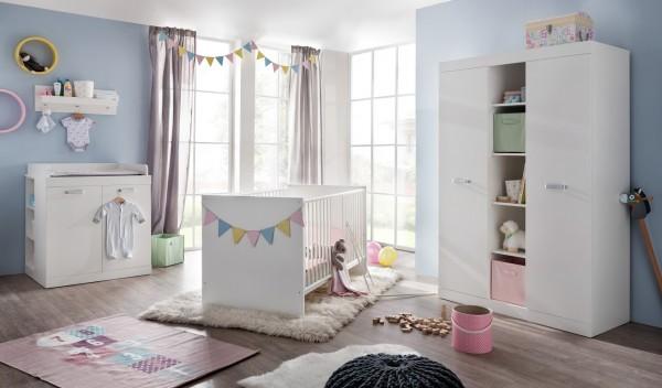 """Babyzimmerkombination """"Sandy 2"""", weiß, Babyzimmerset, Kinderbett, Wickelkommode, Kleiderschrank"""