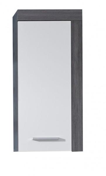 "Hängeschrank ""Babette"", 36 x 79 x 23 cm, rauchsilber/weiß, Kommode, Badezimmerschrank, Badezimmer"