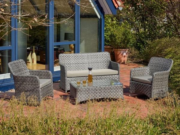"Sofaset ""Texas IX"" 2 Sessel 1 Bank Loungemöbel Gartenmöbelset grau Gartenstuhl"