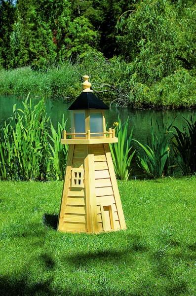 """Leuchtturm """"Fehmarn II"""" natur Handarbeit 45x45x95cm Gartenleuchtturm wetterfest"""