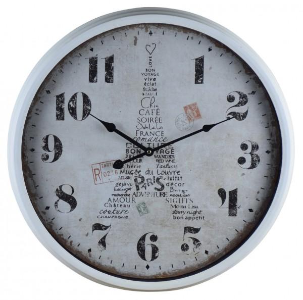 "Wanduhr ""Paris mon amour "" aus Metall 51x51x8 cm, Weiß"