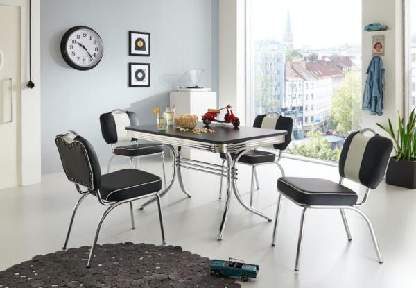 """Tischgruppe Set """"Sumatra"""" Diner Set schwarz/weiss Vierfusstisch Tischplatte schwarz 4xStuhl Küchenset"""