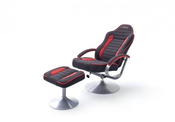 """mcRacing Gaming Sessel """"Quinn"""" - Chefsessel Sportsitzoptik mit Armlehne und Hocker Schwarz-Rot"""