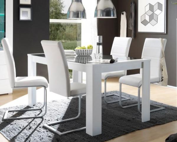 """Esstisch """"Dingo"""" - in Hochglanz weiß und grauem Glas in 160x90 cm"""