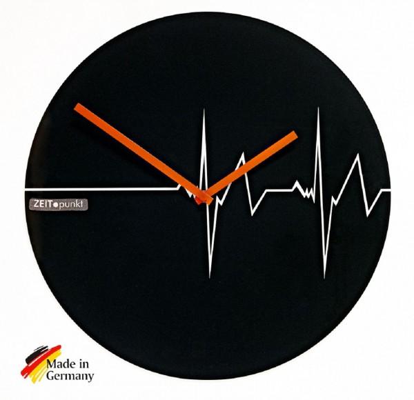 """Quartz Wanduhr """"Heartbeat"""" aus Glas mit Herzschlag, Ø 40 cm"""