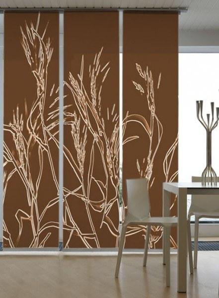 Emotion Textiles Flächenvorhang Schiebevorhang Ähren Rostbraun 3-er Set ncl. Montagesatz