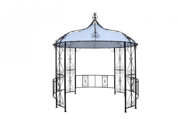 "Pavillon ""Sissi"" lichtgrau schwarz Polyester 300x300x290cm Sonnendach Dach"