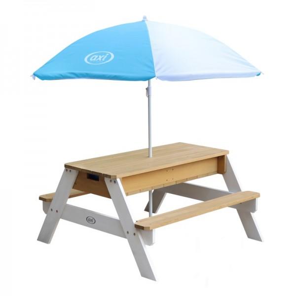 """Picknick-Set """"Josie I"""" Hemlock Holz in braun-weiß 95x98x49cm Picknicktisch mit Sonnenschirm"""
