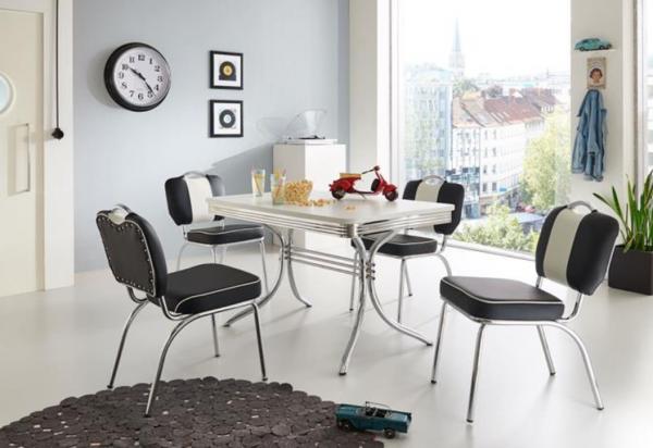 """Tischgruppe Set """"Kiawah I"""" Diner Set schwarz/weiss Vierfusstisch 4xStuhl Küchenset Essgruppe"""