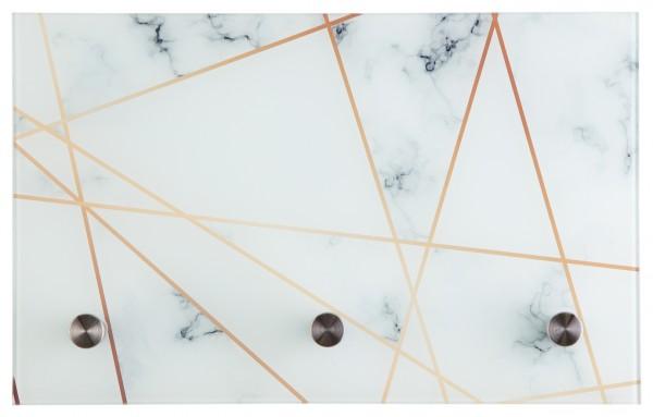 "Spiegelprofi 76365082 Glasgarderobe PEPE Glasgarderobe ""Marmor-Gold"", 40x25x6 cm, Garderobe, Kleiderhaken"