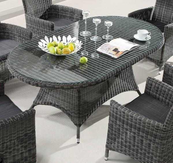 """Tisch """"Balera"""", grau, 180 x 100 x 75 cm, 180er oval, Gartentisch, Esstisch, Garten, Terrasse"""