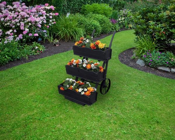 """Blumekarre """"Magarete II"""", anthrazit, 68x88x106cm, Kiefer, 3er Blumekasten, Räder, Blumendeko, Garten"""