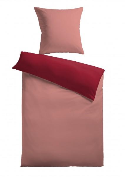 """Bettwäsche """"Bella"""" rose mit Reißverschluss Polyester Fleece 155x220cm Wendebettwäsche"""