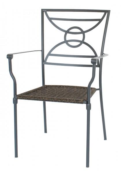 """2er Set Dining Sessel """"Struktur"""" 2x Gartenstuhl Balkonstuhl Bistrostuhl Stahl anthrazit"""