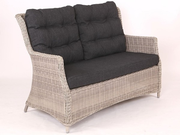 "Sofa Loungesofa ""Sally"" Rattan vintage weiss inkl. Polster anthrazit"