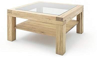 """Couchtisch """"Moldavia"""" - Tisch m. Ablage+Glasplatte Massivholz Wildeiche 95x50x95cm Beistelltisch"""