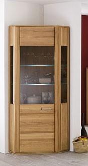 """Eckvitrine """"Anabell"""" Schrank m. Glaselement, Kernbuche, 65x209x65cm, Eckschrank Glasschrank"""