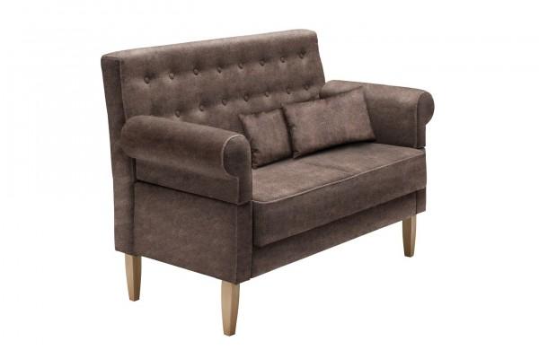 """Sitzbank """"Maxime"""" braun 147/182 x 99 x 76 cm (B/H/T) 2-Sitzer mit Rücken- und Armlehne Federkern"""