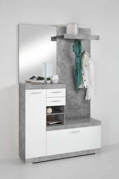 "Komplaktgarderobe ""Robin"", 120 x 193,5 x 35,5 cm, Beton/weiß Edelglanz, Garderobe"