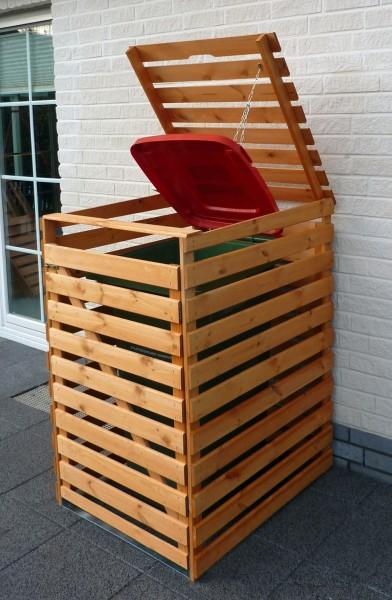 """Mülltonnenbox """"Tim I"""", 77 x 92 x 122cm, honigbraun, Kiefer, mit Deckel, für 1 Tonne, Müllbox, Garten"""
