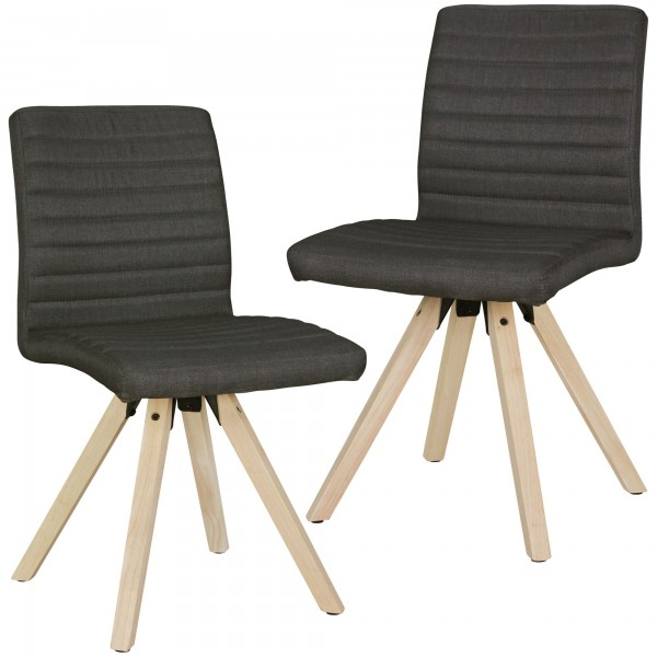 "2er Set Stuhl ""James"" anthrazit Holzstuhl Rubberwood 40x86x46cm Esszimmerstuhl"