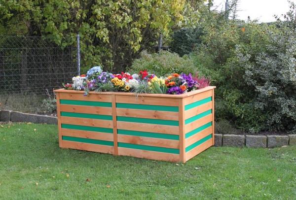"Hochbeet ""Melina"", honigbraun/grün, 150 x 75 x 84 cm, Gartenbeet, Gartenhochbeet, Garten"