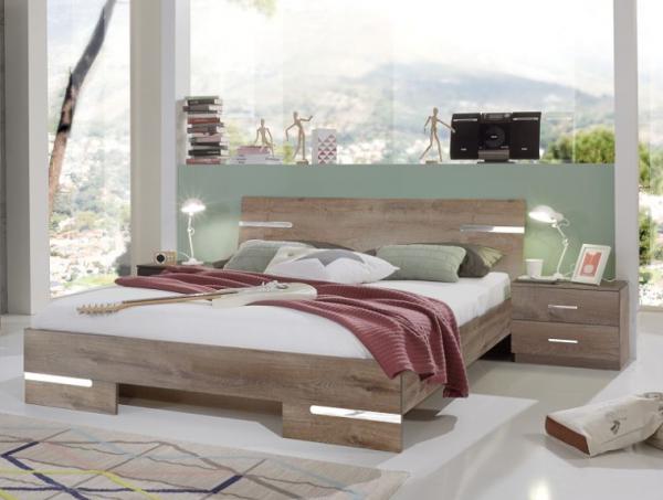 """Schlafzimmer Set """"Flink"""", Doppelbett und Nachttische-Set, Schlammeiche Nachbildung"""