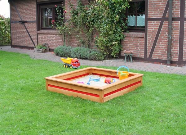 """Sandkasten """"Tori"""", honigbraun/rot, 126 x 126 x 25 cm, Kindersandkasten, Garten, Spielen"""