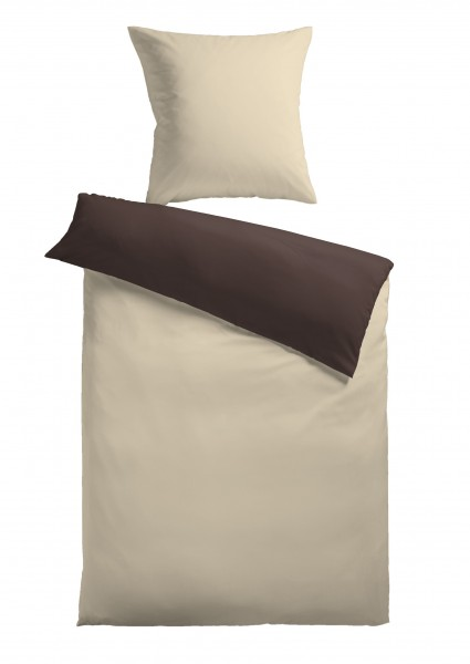 """Bettwäsche """"Bella"""" beige mit Reißverschluss Polyester Fleece 155x220cm Wendebettwäsche"""