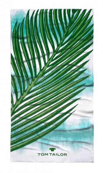 "Tom Tailor Strandtuch ""Palmen"", 85 x 160 cm, aqua, Saunatuch, Duschtuch, Badetuch, Badezimmer"