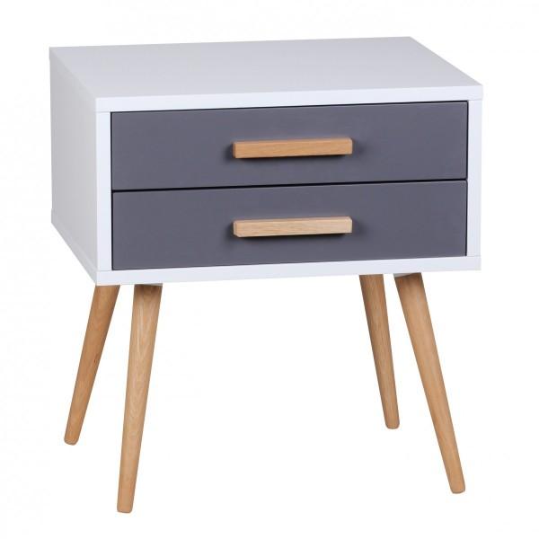 """Nachttisch """"Greta"""" weiß grau matt MDF Eiche 50x40x50cm Nachtkonsole Nachtschrank"""