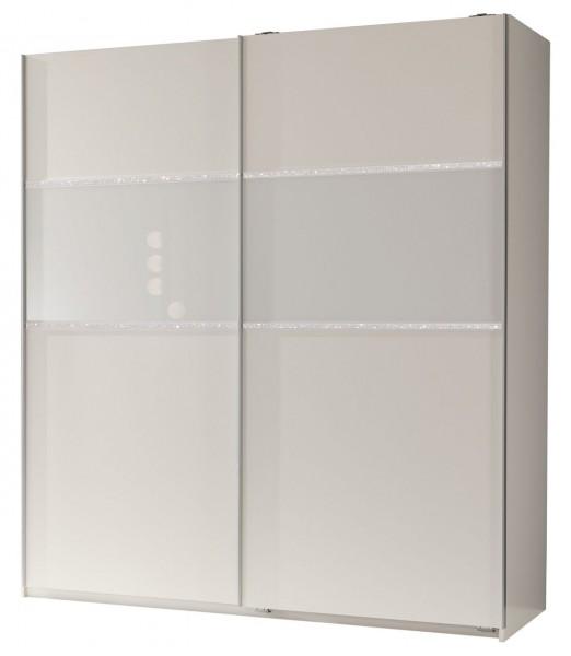 """Kleiderschrank """"Swan"""" Alpinweiß, mit Glaseinsatz Strasskristall, 135x198x64 cm"""