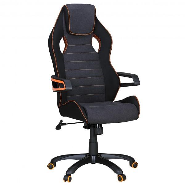 "Bürostuhl ""Niels"", schwarz/orange, Stoff, Schreibtischstuhl, Gamingstuhl, Sessel"