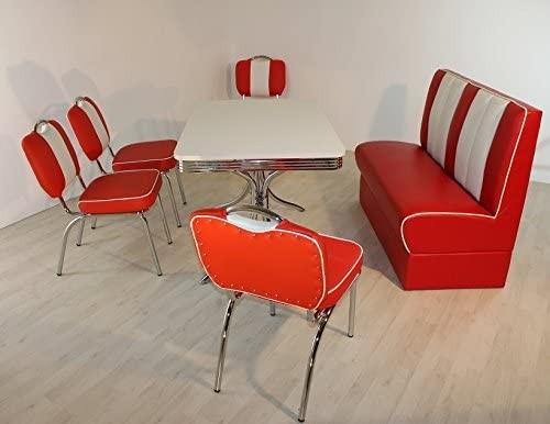 """Tischgruppe Set """"Myst VI"""" Diner Set rot/weiss Vierfuss-Bistrotisch 4xStuhl Polsterbank"""