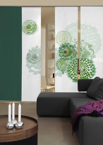 Emotion Textiles Flächenvorhang Schiebevorhang 3er Set Batikblume flaschegrün 180 x 260 cm