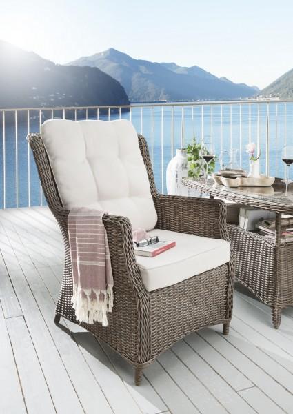 """Sessel """"Sally"""", vintage braun, 66 x 78 x 97 cm, mit Polster, Gartenstuhl, Stuhl, Balkon, Garten"""