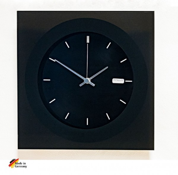 """Funk Wanduhr """"Ben"""" aus schwarzem Glas, 33 x 33 cm, schwarz"""