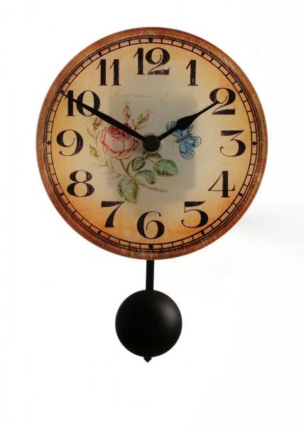 """Wandpendeluhr Quartzuhr """"Antik Rose"""", Glas, antik Druck, Shabby Style, Küche, Esszimmer, 23x14x5cm"""