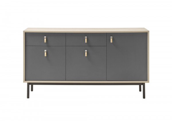"Sideboard 3-trg. ""Dark Scandy"" grau/Jackson Hickory Dekor, Metallfüße schwarz 39x154x84cm"