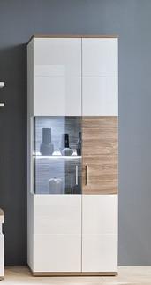 """Vitrine """"Loren I"""" Highboard Glaselement, weiß hochglanz/ weiß matt, Absatz Sterling Oak, 70x199x37cm"""
