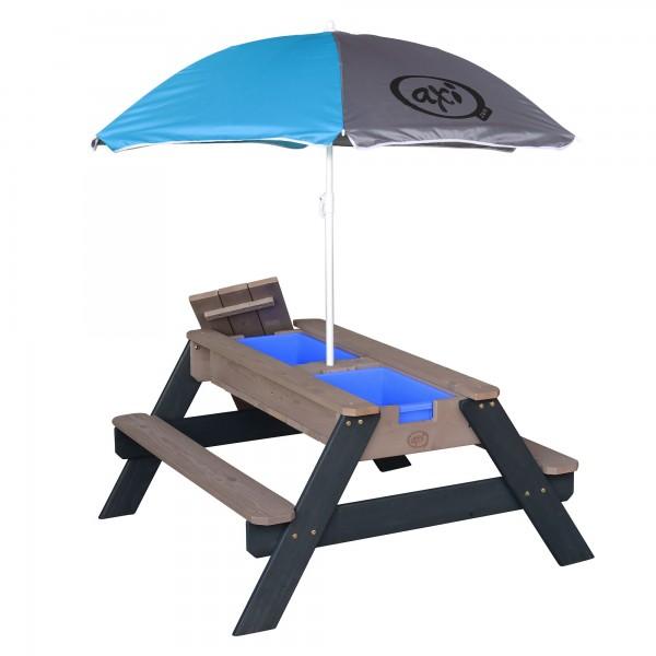 """Picknick-Set """"Josie"""" aus Zedernholz mit Sonnenschirm in anthrazit 90x80x56cm Picknicktisch"""