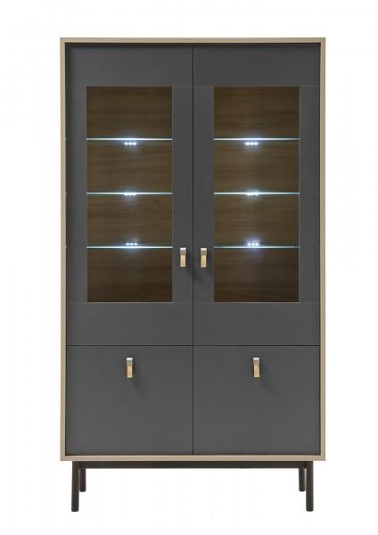 "Vitrine 2 Türen ""Dark Scandy"" grau/Jackson Hickory Dekor, Metallfüße schwarz, 39x104x185cm, 6x Glasb"