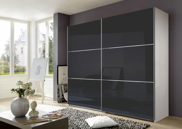 "Schwebetürenschrank ""Rubino"" Glasfront Grey, Alpinweiß, 250x236x65 cm"