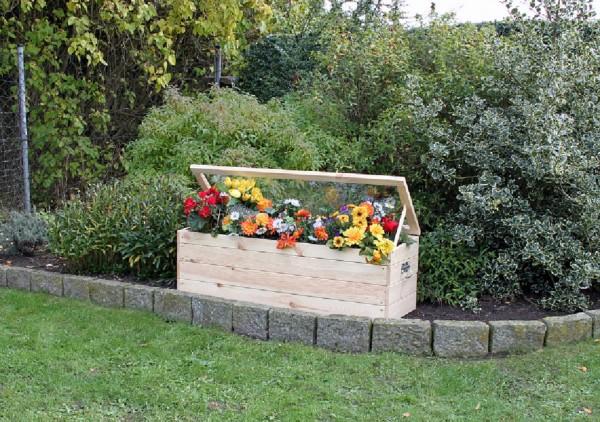 """Frühbeet """"Nele"""", Kiefer, natur, 118,5 x 40 x 42 cm, mit Boden und Folie, Blumenfrühbeet, Garten"""