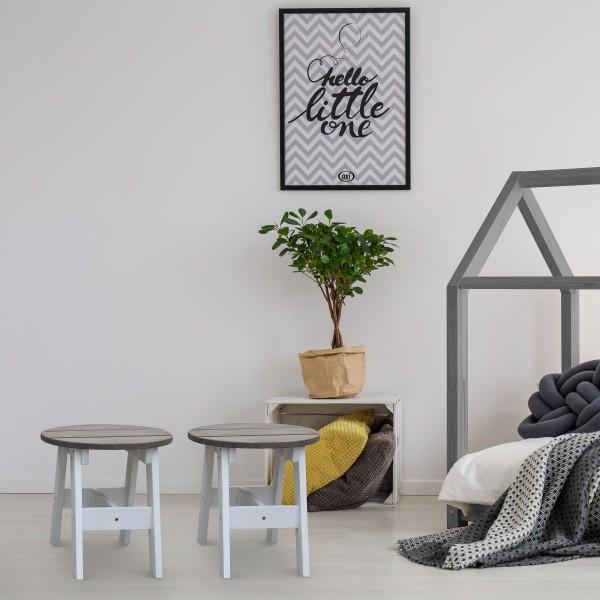 """2-teiliges Set Kindertisch """"Elonor"""" Holz grau-weiß Tisch Stuhl 30x30x30cm"""